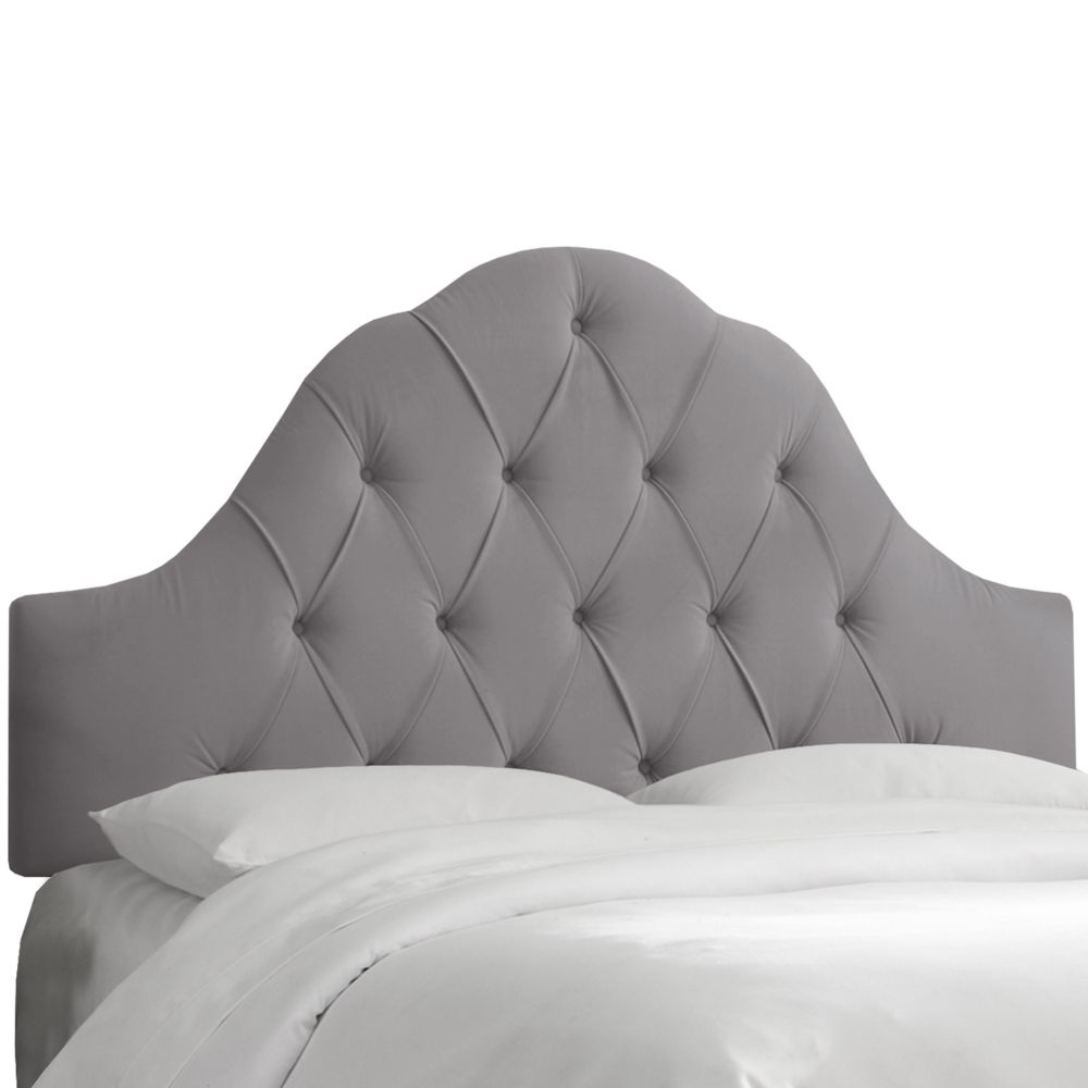 King Arch Tufted Headboard In Velvet Steel Grey