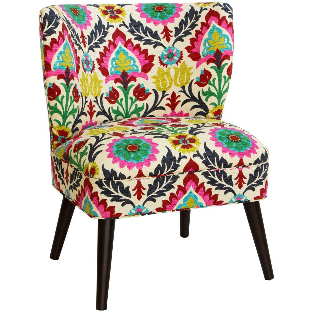 Curved Armless Chair In Santa Maria Desert Flower