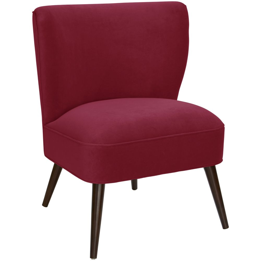 Curved Armless Chair In Velvet Berry