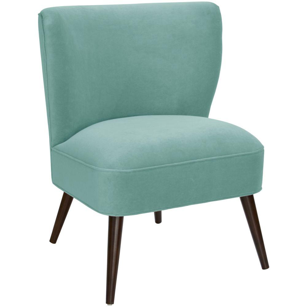 Curved Armless Chair In Velvet Caribbean