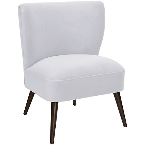 Contemporary Slipper Velvet Accent Chair in White with Solid Pattern