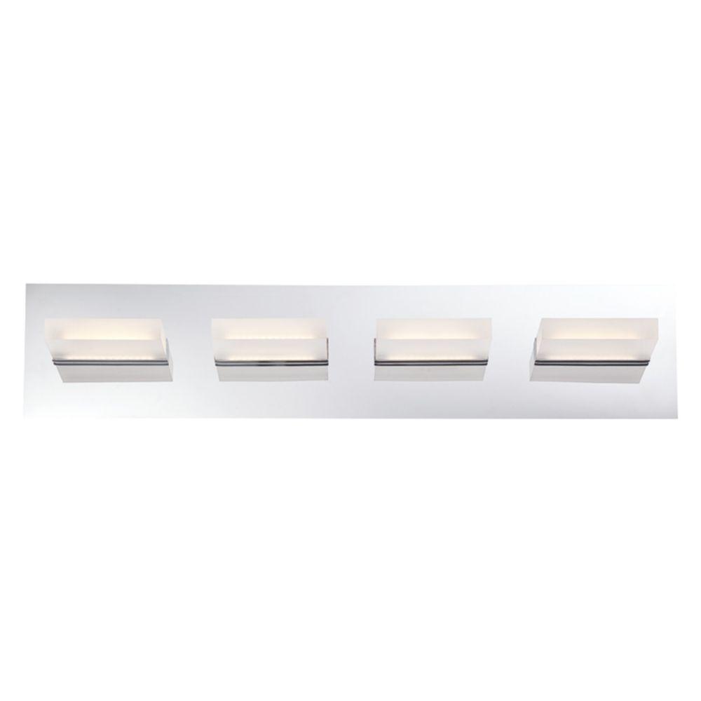 Collection Olson, barre déclairage de salle de bains chrome à 4ampoules DEL