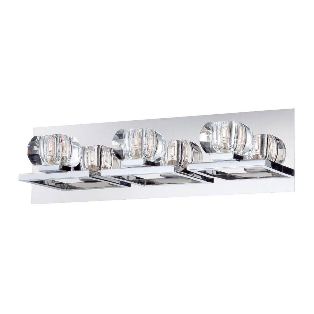 Casa Collection, 3-Light Chrome and Clear Bathbar