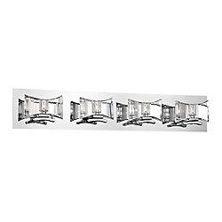 Collection Uzo, barre déclairage de salle de bains chrome et transparente à 4ampoules