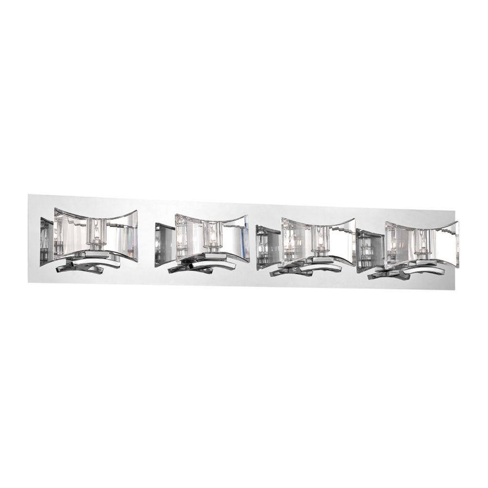 Uzo Collection, 4-Light Chrome and Clear Bathbar