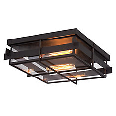 Muller Collection, 2-Light Bronze Flushmount