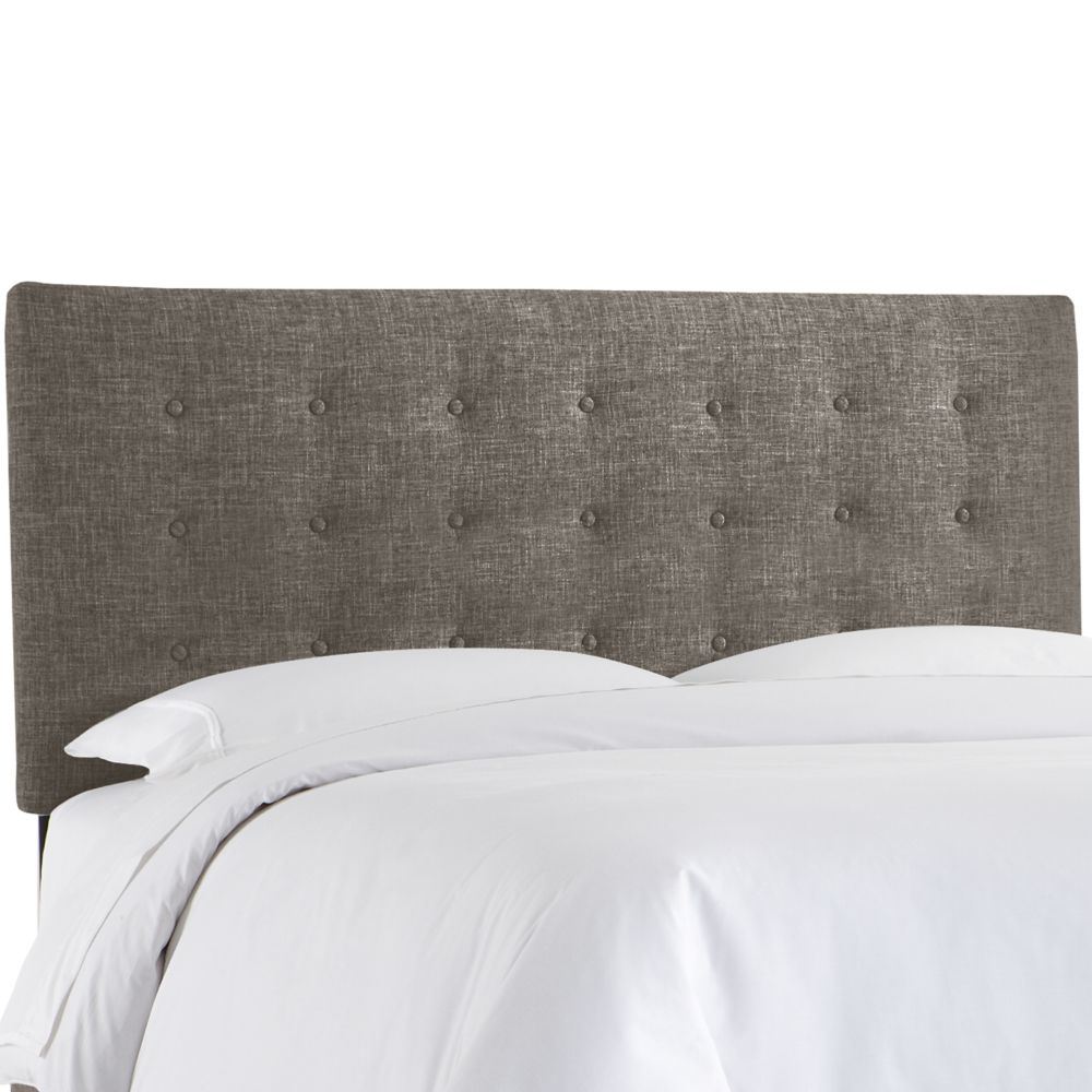 Queen Button Headboard In Zuma Charcoal