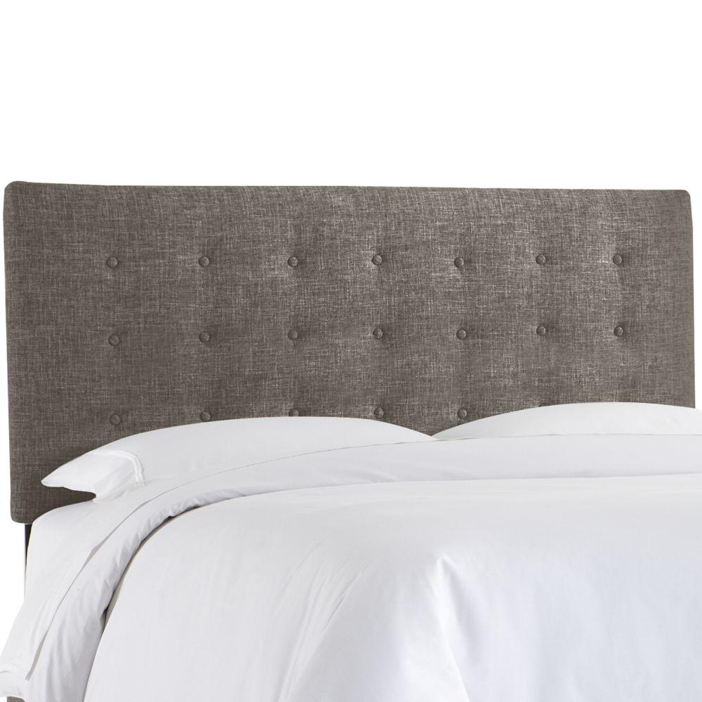 Tête de lit rembourrée reine en zuma charbon