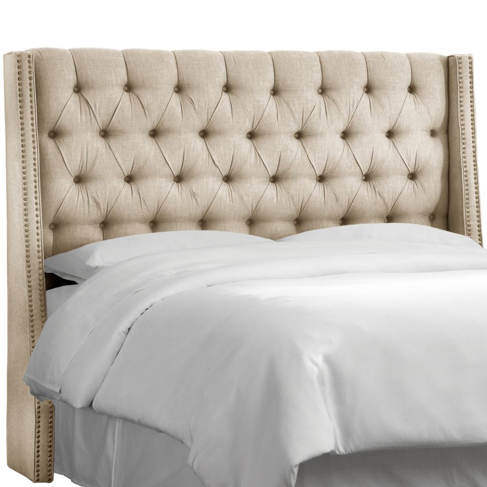 California King Nail Button Tufted Wingback Headboard In Twill Natural