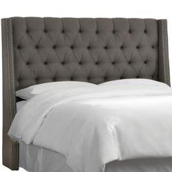 Skyline Furniture California King Nail Button Tufted Wingback Headboard In Twill Grey