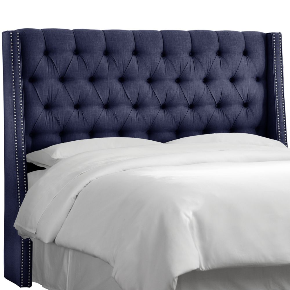 California King Nail Button Tufted Wingback Headboard In Twill Navy