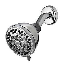 PowerSpray 6-Spray Fixed Mount Shower Head in Chrome
