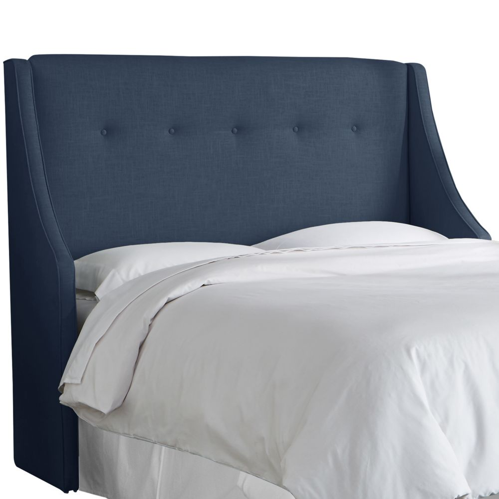 Queen Button Tufted Wingback Headboard In Linen Navy