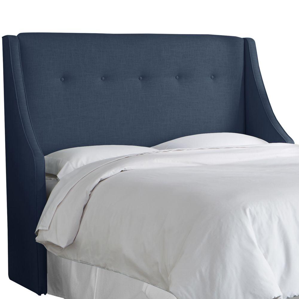 Tête de lit rembourrée reine en linge marine