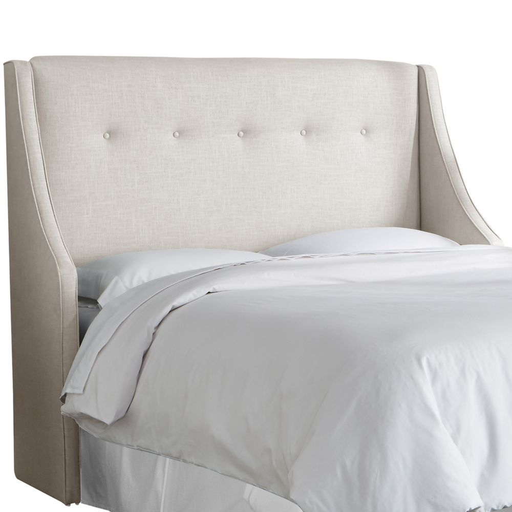 Tête de lit rembourrée reine en linge talc