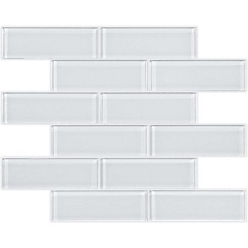 2x6 Glass Brick Mosaics in Arctic Snow