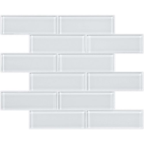 Enigma 2x6 Glass Brick Mosaics in Arctic Snow