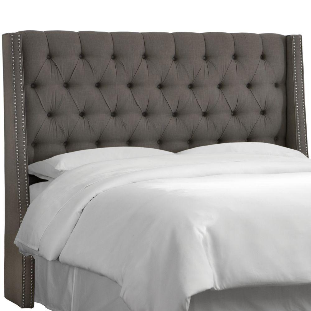 Tête de lit rembourrée roi en sergé gris