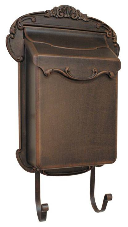 Victorian Aluminum Mailbox, Antique Copper