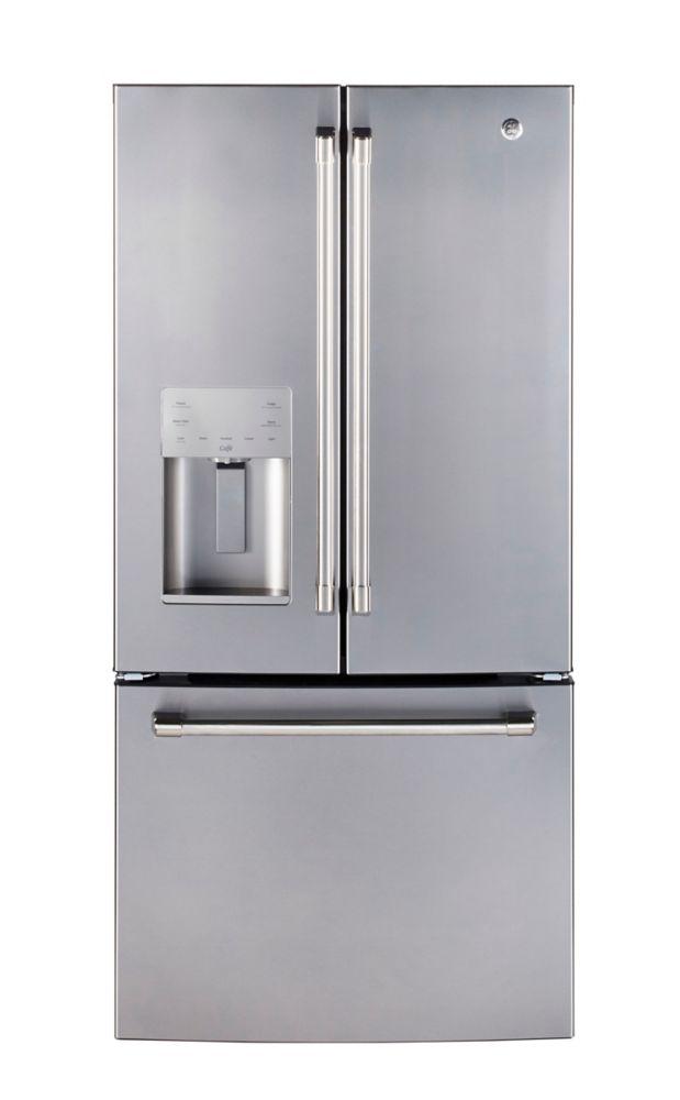 GE Profile Réfrigérateur à congélateur inférieur et à portes françaises de 27,7 pieds cube