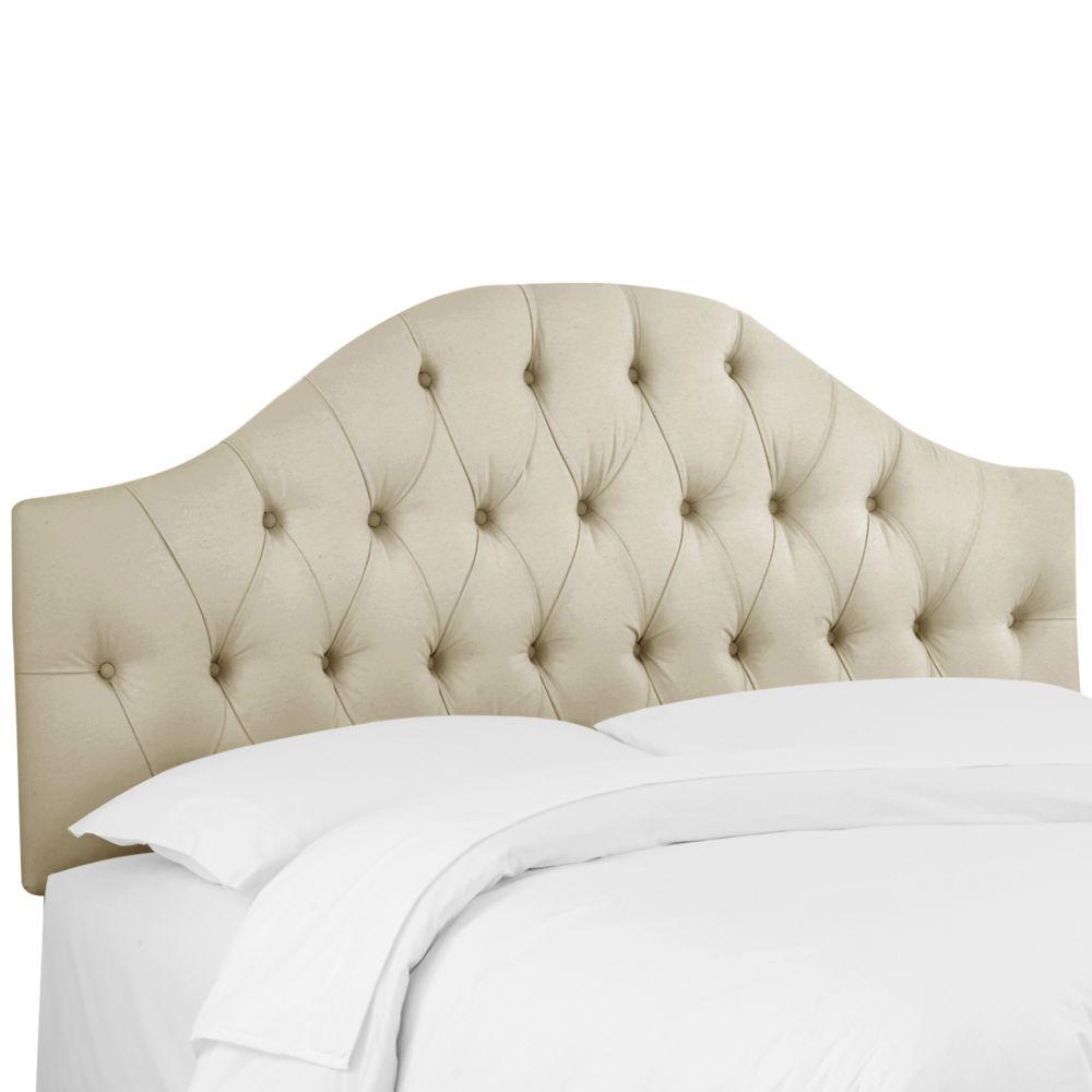 Tête de lit rembourrée complet en sergé naturelle