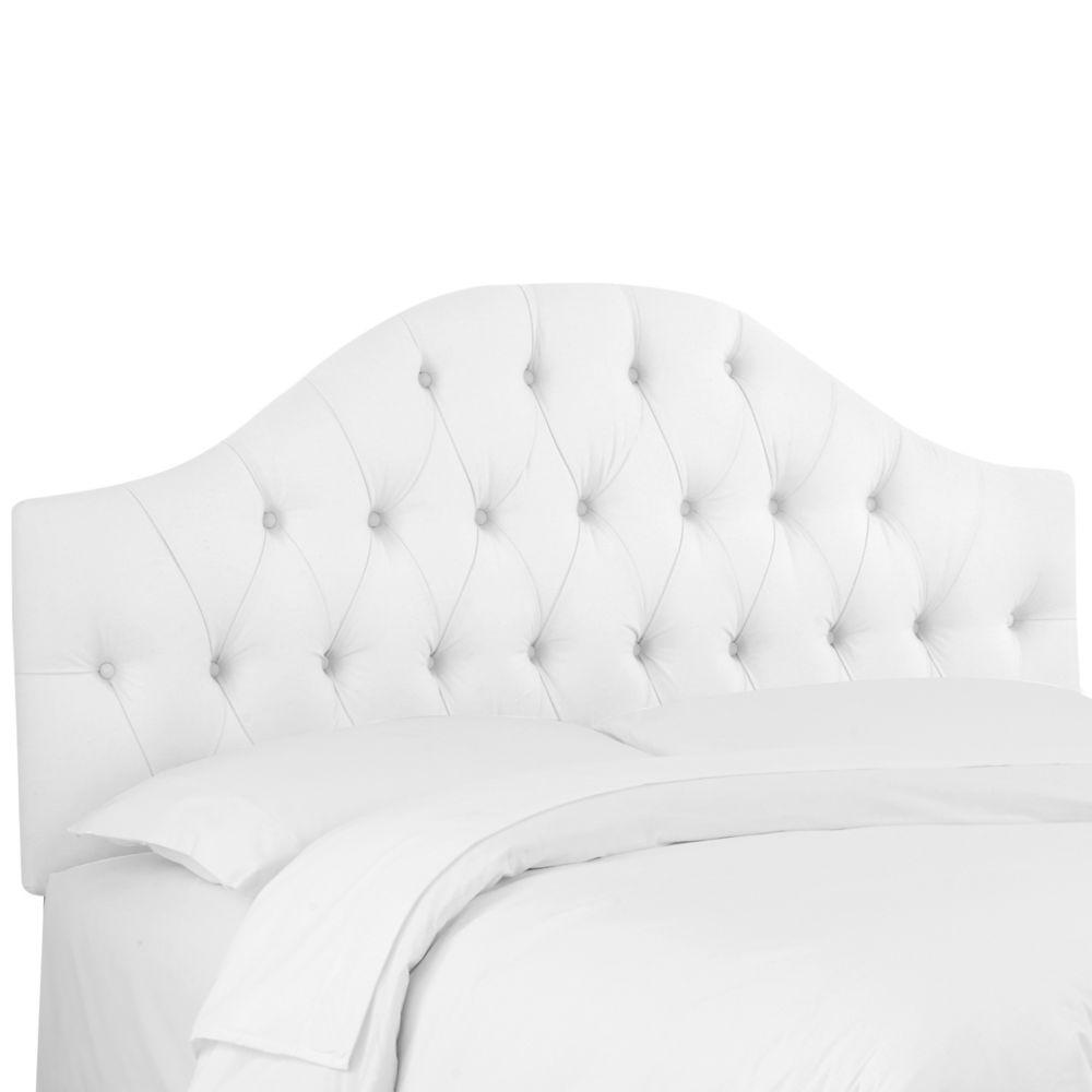 Queen Diamond Tufted Headboard In Twill White