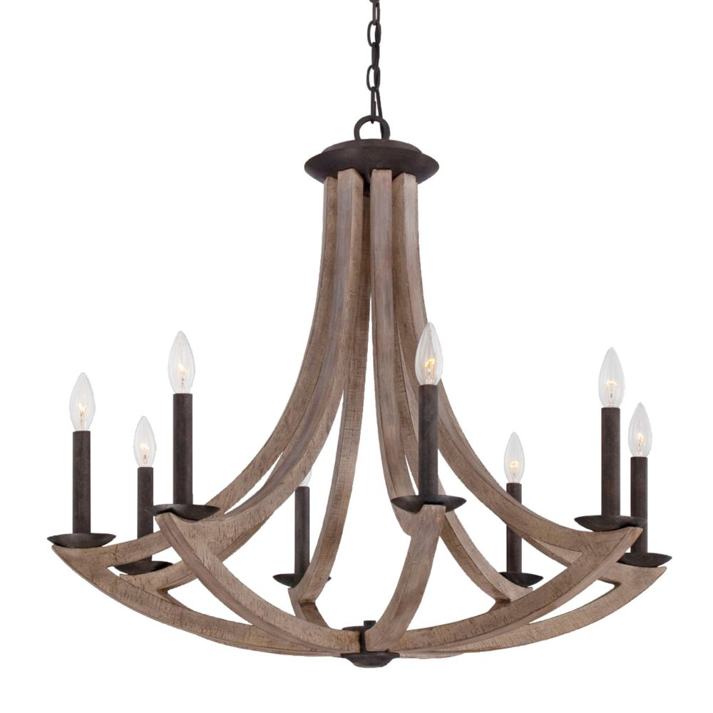 Arcata Collection, 8-Light Wood Chandelier