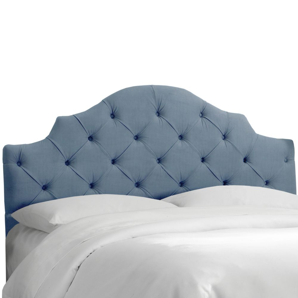Twin Tufted Notched Headboard In Velvet Ocean