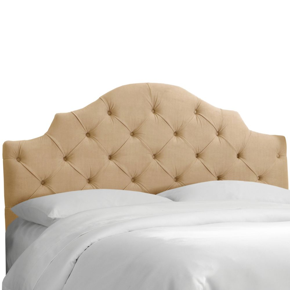 Full Tufted Notched Headboard In Velvet Buckwheat