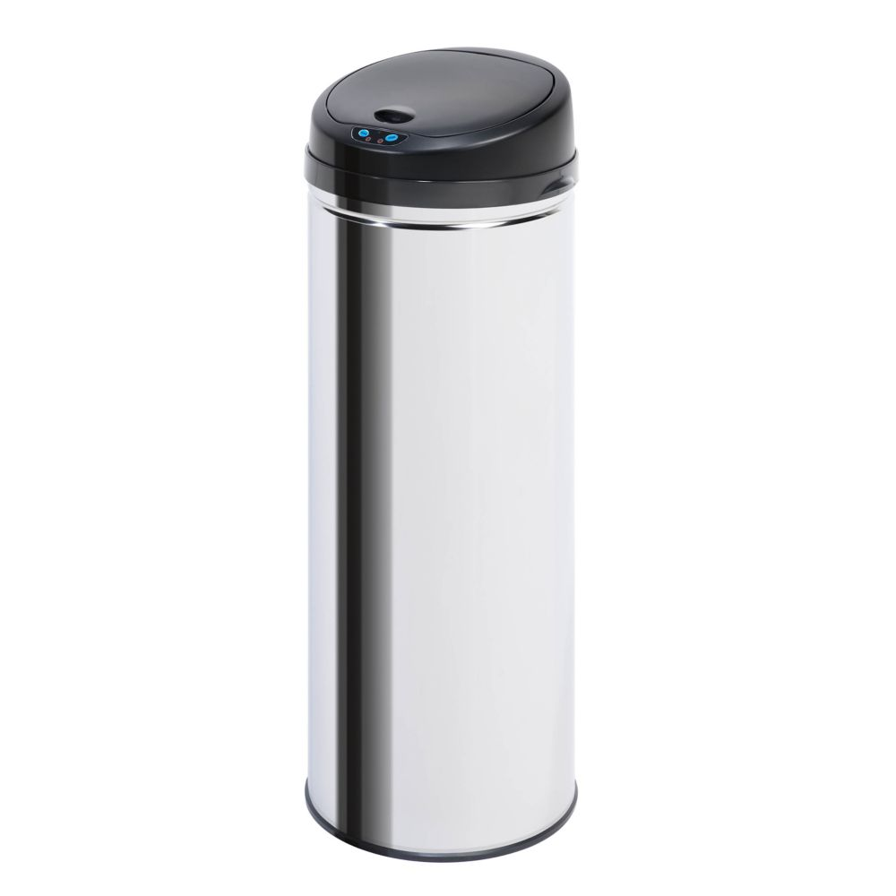 9.8 Gal. Stainless Steel Round Motion Sensing Touchless Trash Can