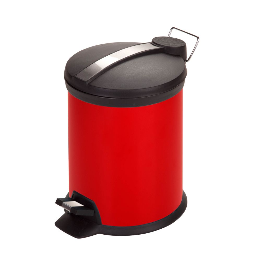 Honey-Can-Do International 3 l Red Round Metal Step-On Touchless Trash Can