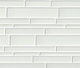 Yukon White interlocking 12 Inch x 12 Inch x 6mm glass mesh mounted mosaic tile(15 SqFeet / Case)