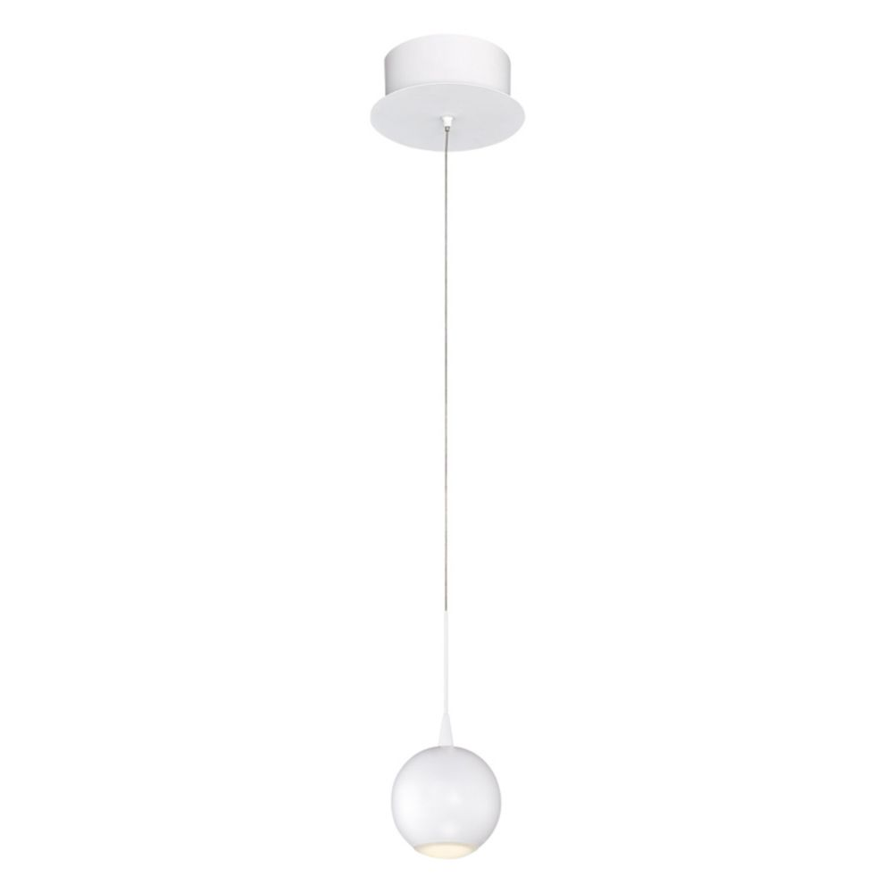 Collection Patruno, luminaire suspendu blanc à 1 ampoule DEL