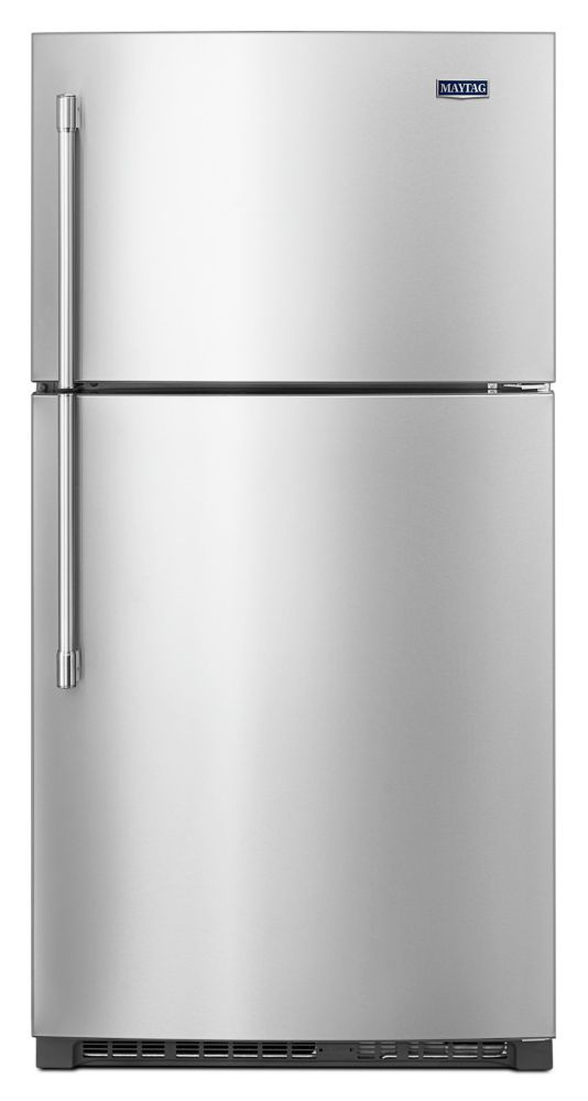 Maytag 33-inch W 21 cu. ft.  Top Freezer Refrigerator with EvenAir Cooling Tower in Stainless Steel