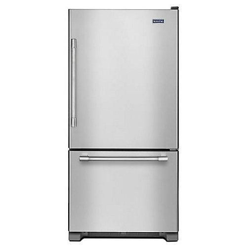 Réfrigérateur à congél. inférieur, EnergyStar, 30po, 19pi³, acier inox. rés. aux traces de doigt - ENERGY STAR®