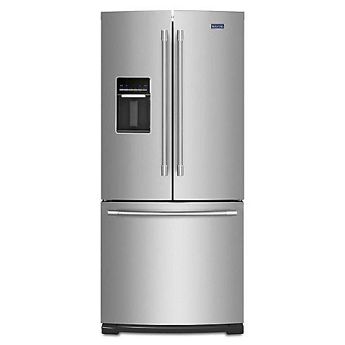 Réfrigérateur à porte française de 30 po W 20 pi3 en acier inoxydable résistant aux empreintes digitales