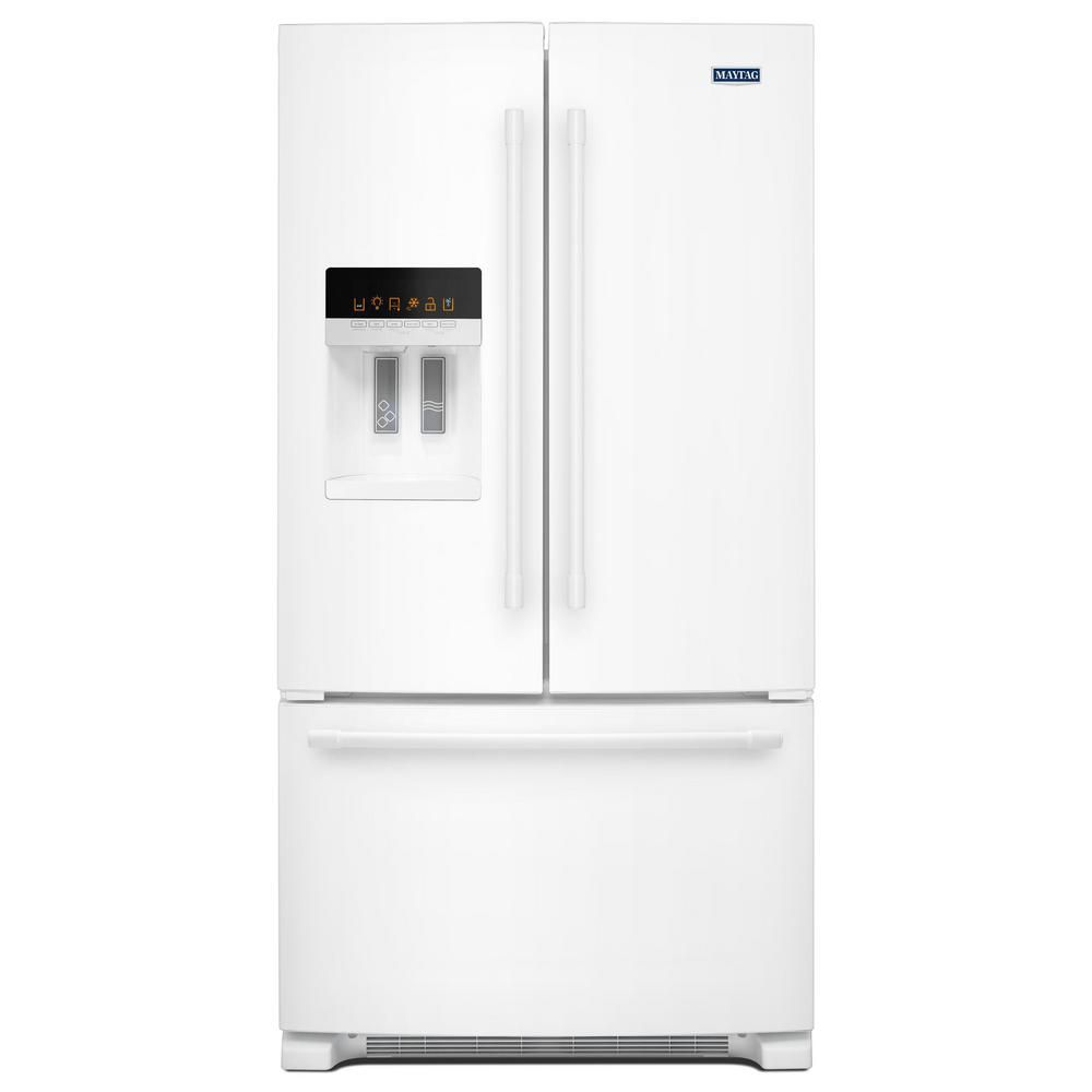 Maytag 36-inch W 25 cu. ft. French Door Refrigerator with Water and Ice Dispenser in White - ENERGY STAR®