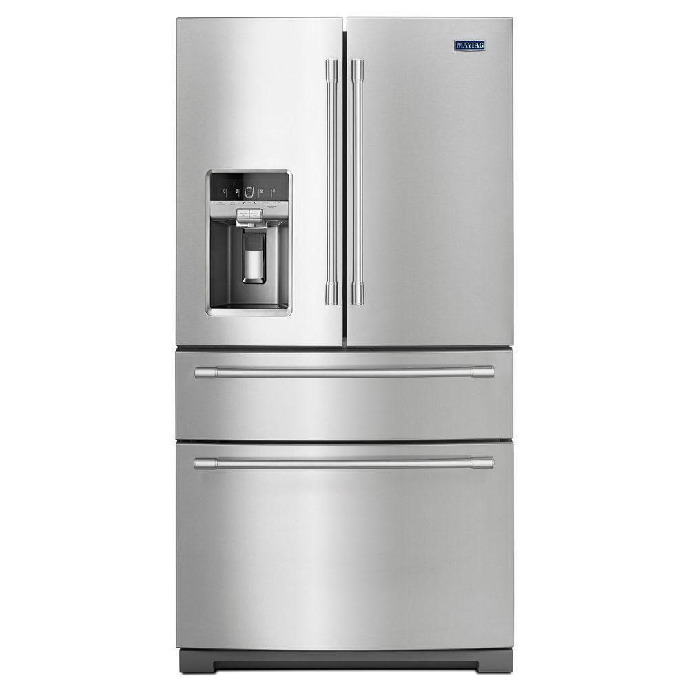 36- Inch Wide 4-Door French Door Refrigerator with Steel Shelves - 26 Cu. Feet