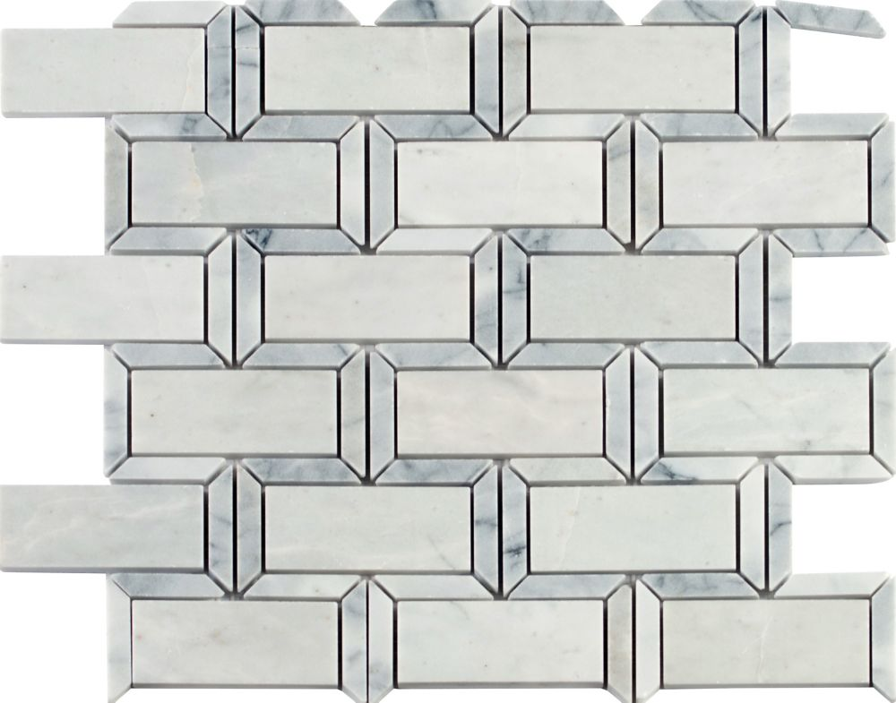 Framework 12 Inch x 12 Inch Polished marble mesh mounted mosaic tile ( 10 SqFeet/ Case )