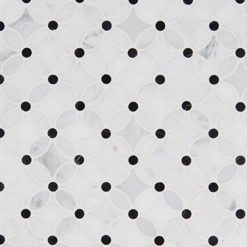 Florita 12 Inch x 12 Inch Polished marble mesh mounted mosaic tile (12.1 SqFeet/Case)