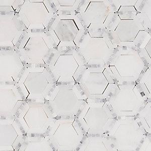 Telaio Hexagon 12 In X 10mm Marble Mesh Mounted Mosaic Tile
