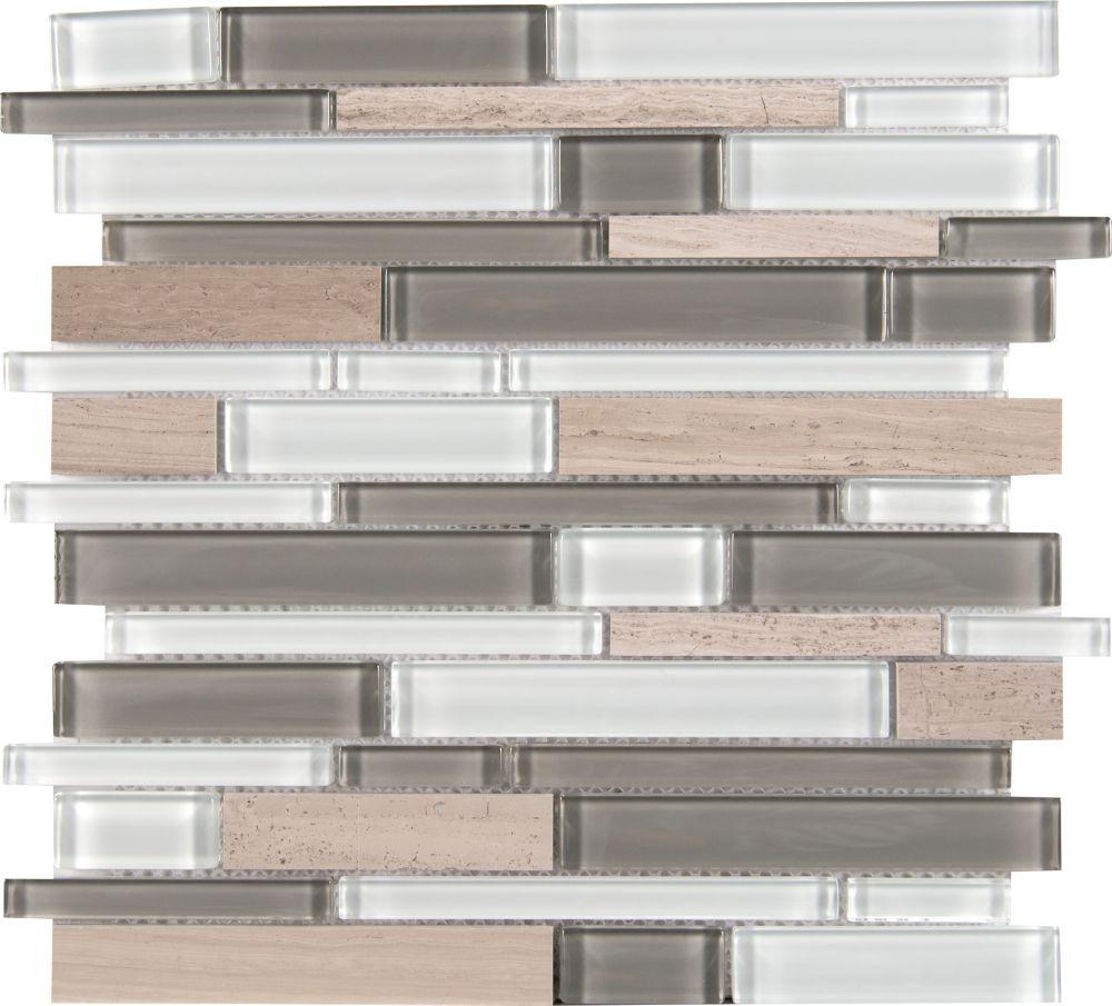 Stratus Gray Interlocking 12 Inchx12 Inchx6mm glass stone mesh mounted mosaic tile (15 SqFeet/Cas...