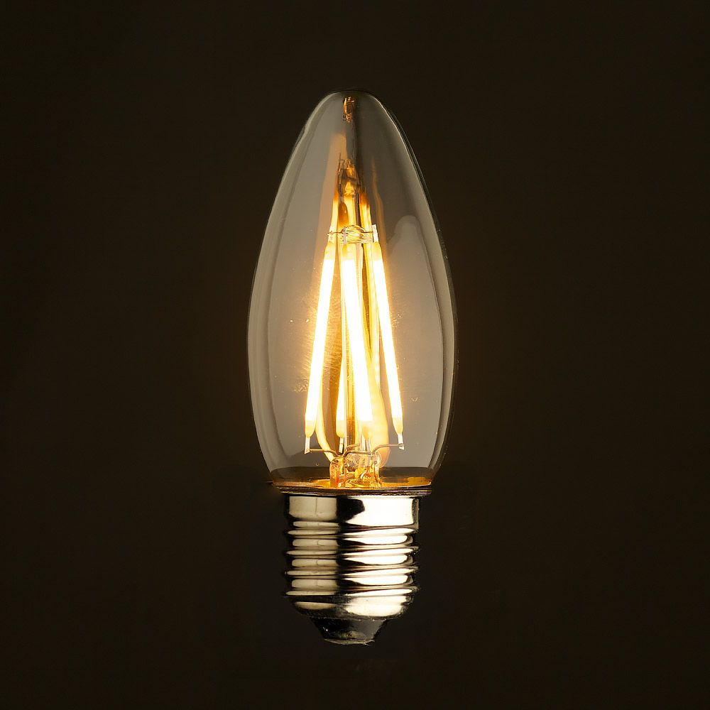 B10 E26 Candle Filament Bulb 4W = 40W 2700K 400lm cri90 Dimmable LED - 4-pk
