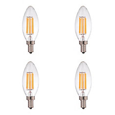 LED Filament Clear Candelabra 2700K 60W E12 CRI90 ES Dimmable - (4-Pack) - ENERGY STAR