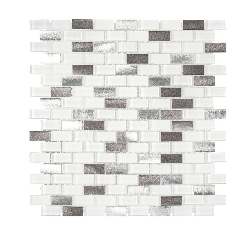 Jeffrey Court Arctic Thunder 10.625-inch x 12-inch x 6mm Glass/Stone/Metal Mosaic Tile