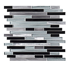 Binary Code 11.625-inch x 11.75-inch x 6mm Glass / Metal Mosaic Tile
