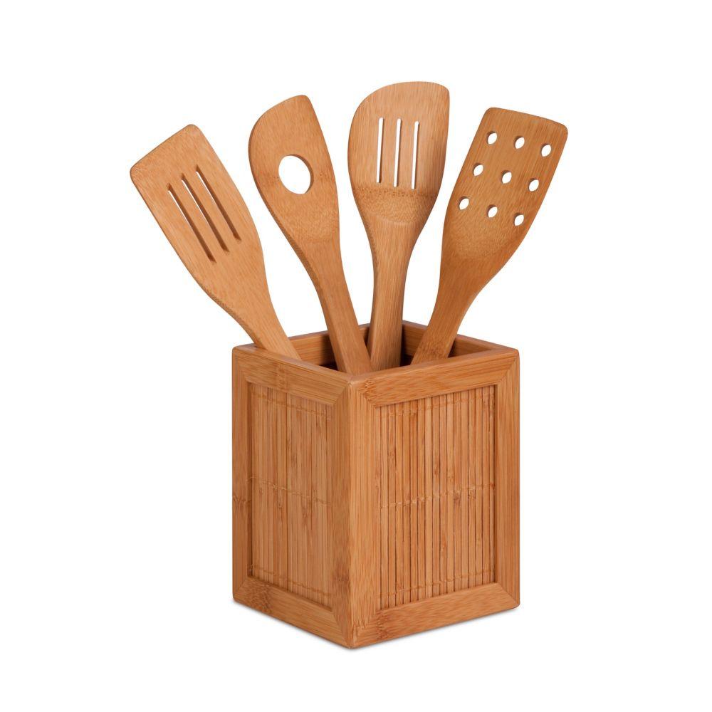 Bamboo Utensil Kitchen Caddy