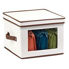 Dinnerware Storage Box, 12 Inch  x 12 Inch  x 8.5 Inch , Light Canvas - dinner plates