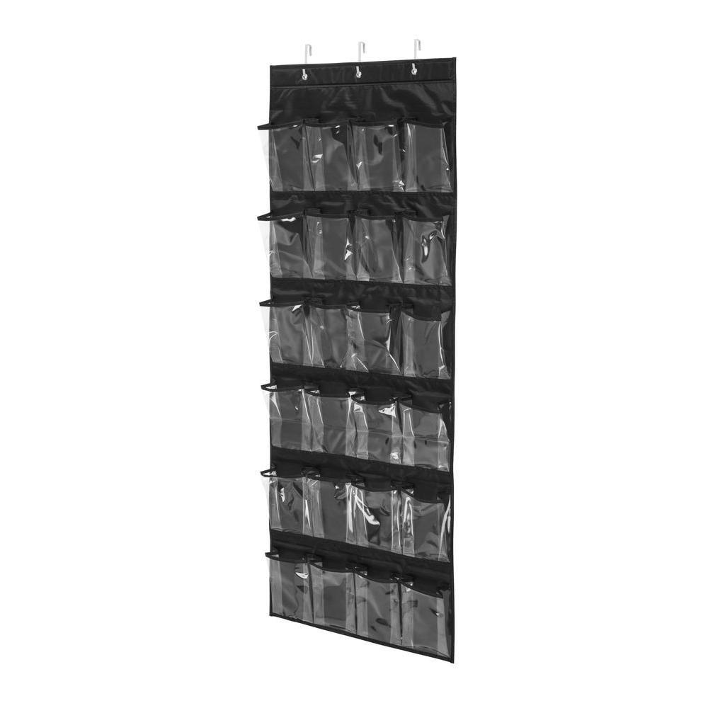 Over-the-Door 24-Pocket Black Polyester Shoe Organizer