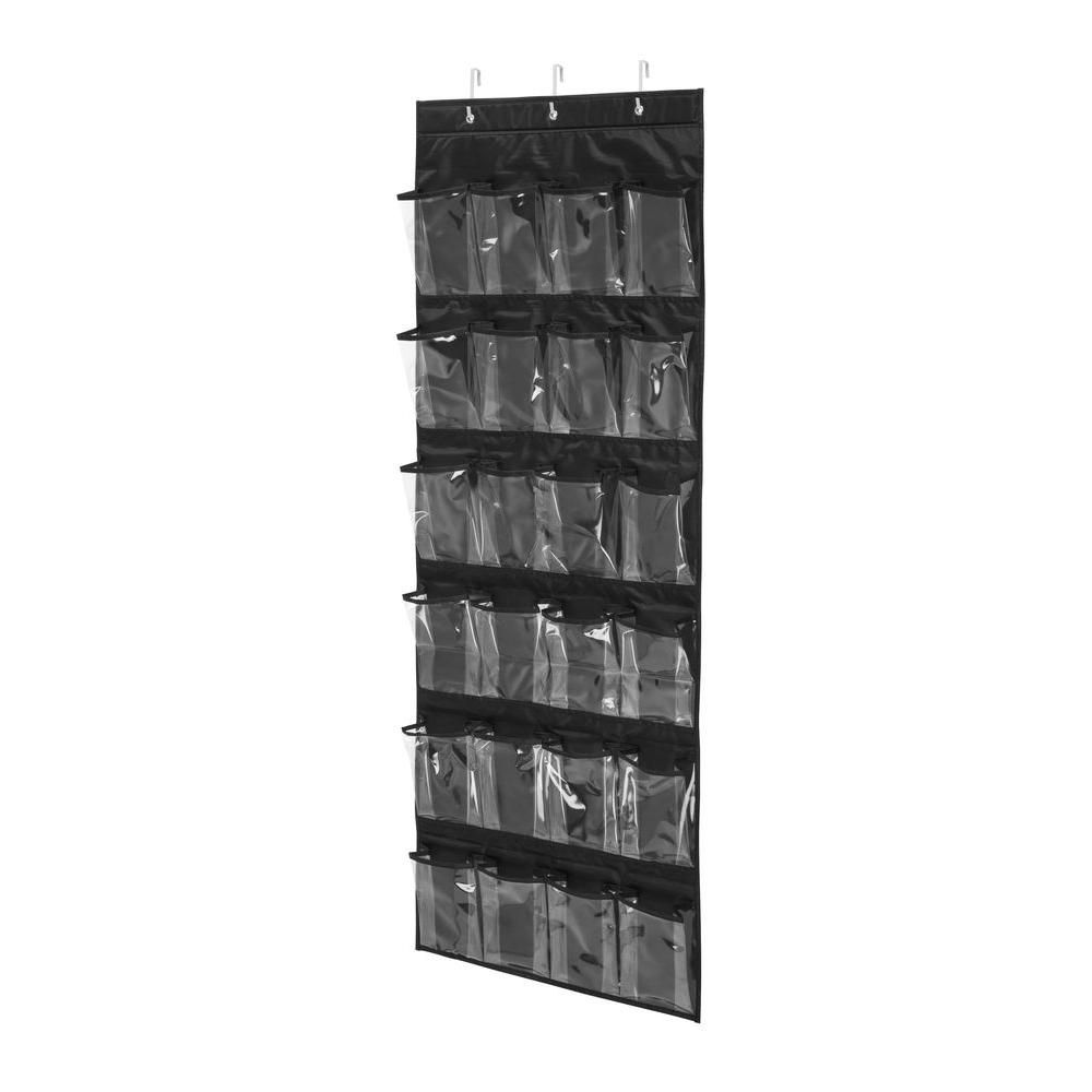 Honey-Can-Do International Over-the-Door 24-Pocket Black Polyester Shoe Organizer